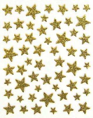 Sticker GLITTER STARS, gold