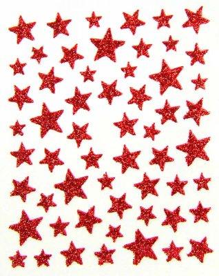 Sticker GLITTER-STERNE, rot