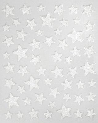 Sticker GLITTER STARS, white