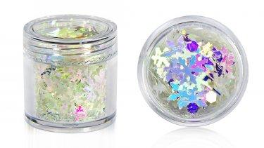 Schneeflocken-Glitter-Mix, weiß-irisierend