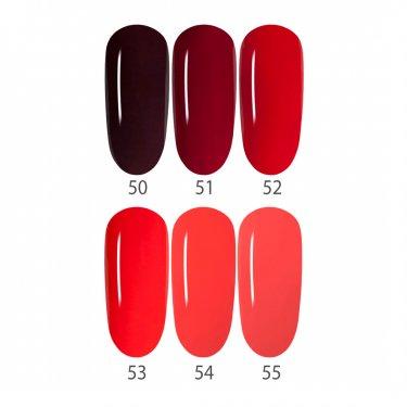 GelLack-Set RED, 6 Farben 50-55