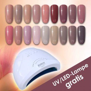 GelLack SET NUDE, 18 Farben 63-80 + 1x UV/LED-Lampe GRATIS