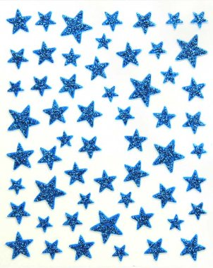 Sticker GLITTER STARS, blue