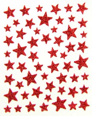 Sticker GLITTER STARS, red