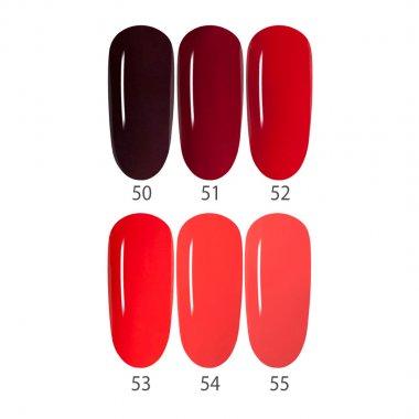 Gel Polish Set RED, 6 Colors 50-55