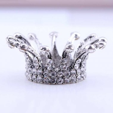 Nail Brush Holder CROWN, retro silver