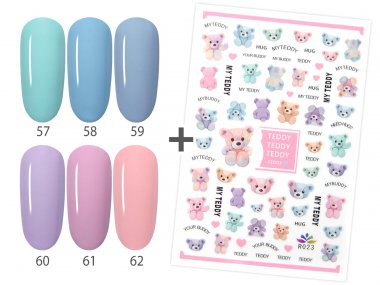 Gel Polish Set  PASTEL, 6 colors 57-62 + 1x Teddy Stickers FOR FREE