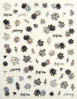 Sticker Blätter 01 Schwarz-Silber