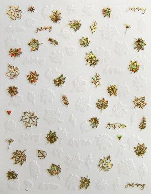 Sticker Blätter 03 Weiß-Gold